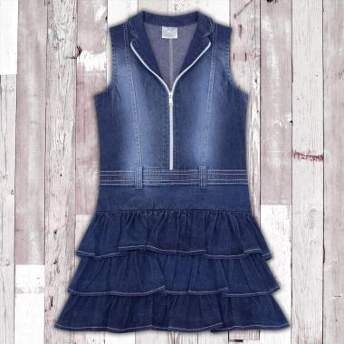 Дънкова рокля с цип  в синьо