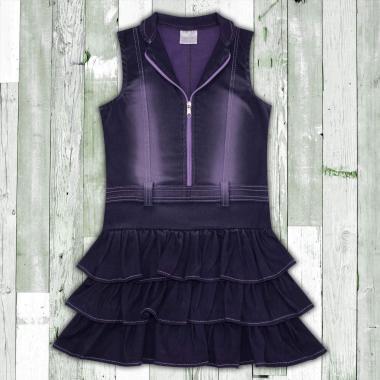 Дънкова рокля с цип в лилаво