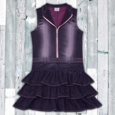 Дънкова рокля с цип  в розово