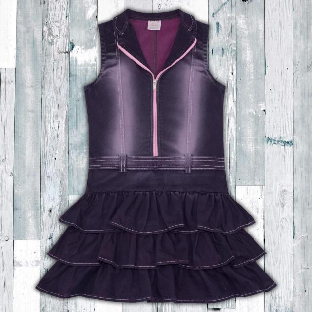 Дънкова рокля с цип в розово 1