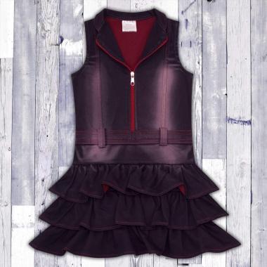 Дънкова рокля с цип  в червено