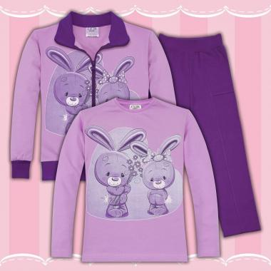Комплект 3ч.(с/б/д) Сладки зайчета в лилаво
