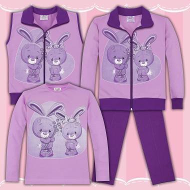 Комплект 4ч.(с/б/е/д) Сладки зайчета в лилаво