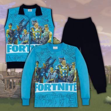 Комплект 3ч.(б/е/д) Fortnite в наситено синьо