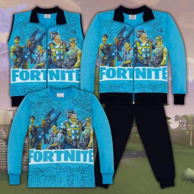 Комплект 4ч.(с/б/е/д) Fortnite в наситено синьо