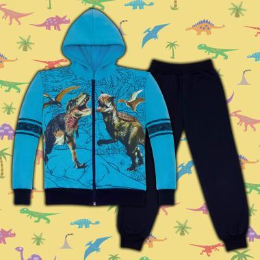 Комплект триконечна вата 2ч.(с/д) Динозаври в наситено синьо