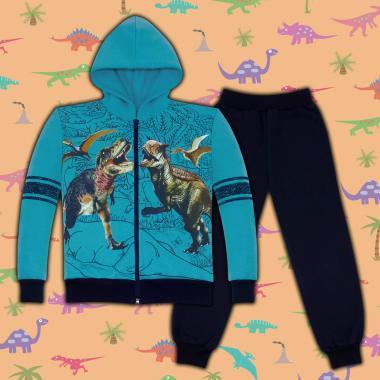 Комплект триконечна вата 2ч.(с/д) Динозаври в морско синьо