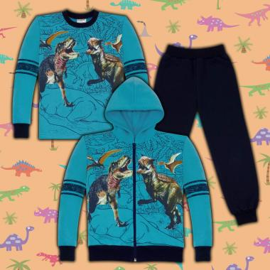Комплект триконечна вата(с/б/д) Динозаври в морско синьо