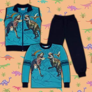 Комплект триконечна вата(б/е/д) Динозаври в морско синьо