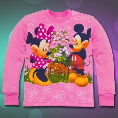 Блуза триконечна вата Мини и Мики в розово