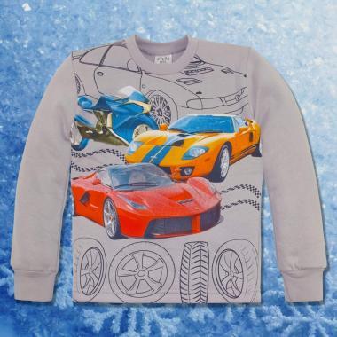 Блуза триконечна вата Hot Wheels в сиво