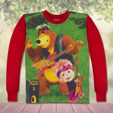 блуза с дълъг ръкав Маша и Мечока в червено