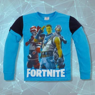 блуза тънка с дъл. ръкав с Fortnite наситено синьо