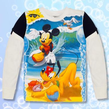 блуза тънка с дълъг ръкав Мики Маус в екрю