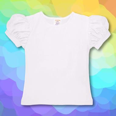 Блуза с къс набран ръкав в бяло