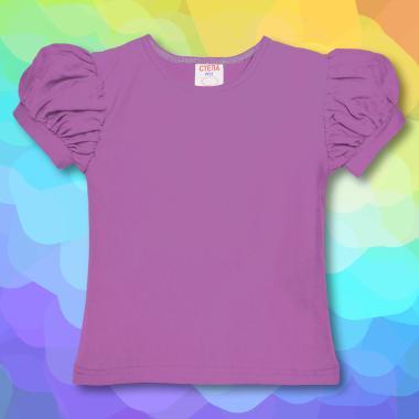 Блуза с къс набран ръкав в лилаво