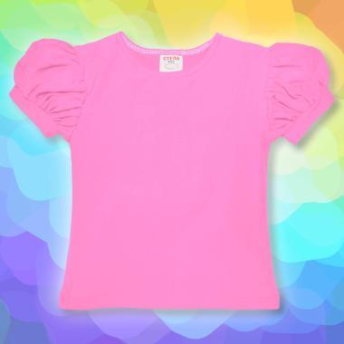 Блуза с къс набран ръкав в розово