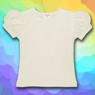 Блуза с къс набран ръкав в екрю