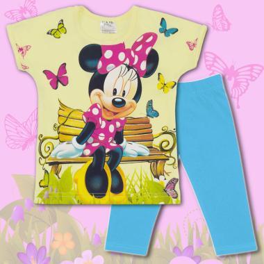Комплект блузка и клин Мини Маус в жилто и наситено синьо