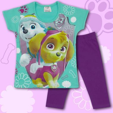 Комплект блузка и клин Скай от Пес Патрул в мента и тъмно лилаво