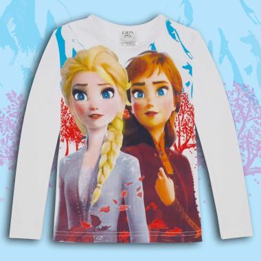 Блуза тънка с дълъг ръкав Замръзналото кралство в бяло