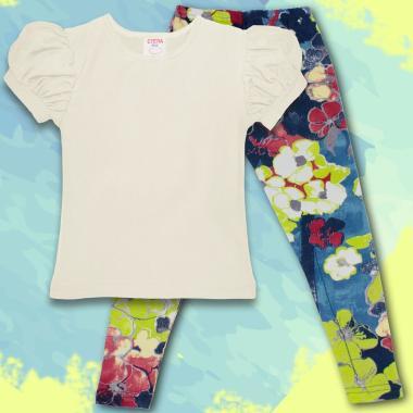 Комплект блузка и клин в екрю и флорални елементи