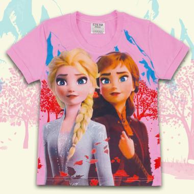 Блуза с къс ръкав Замръзналото кралство в розово