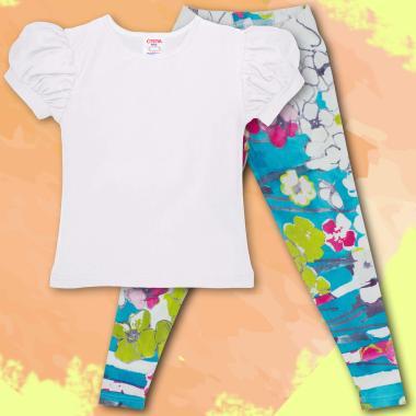 Комплект блузка и клин в бяло и флорални елементи