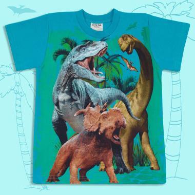 Тениска Динозаври в морско синьо