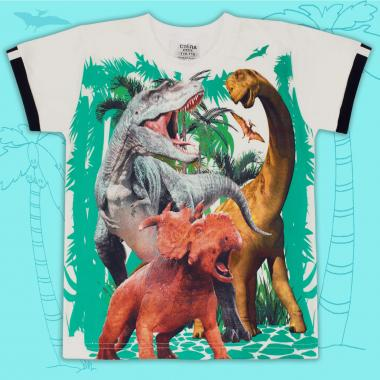 Тениска Динозаври в екрю