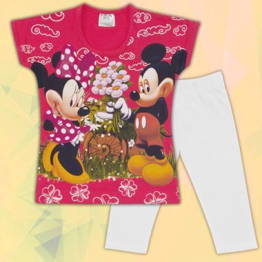 Комплект блузка и клин Мини Маус-в-корал