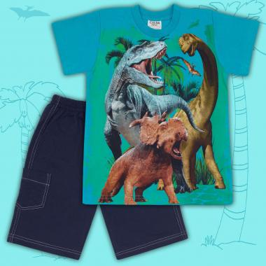 Комплект тениска и бермуди Динозаври в морско синьо