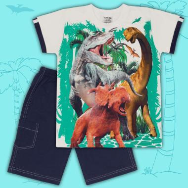 Комплект тениска и бермуди Динозаври