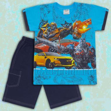 Комплект тениска и бермуди Трансформърс в наситено синьо
