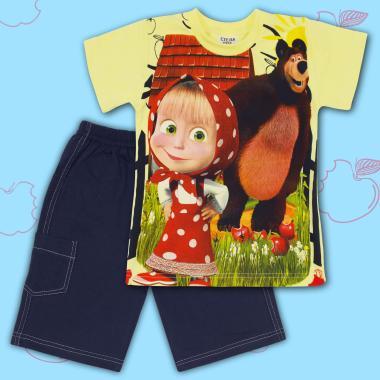 Комплект тениска и бермуди Маша и Мечока