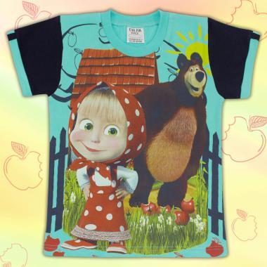 Тениска в Маша и Мечока в мента