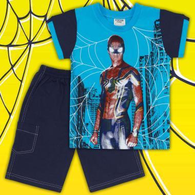 Комплект тениска и бермуди Спайдърмен в електрик