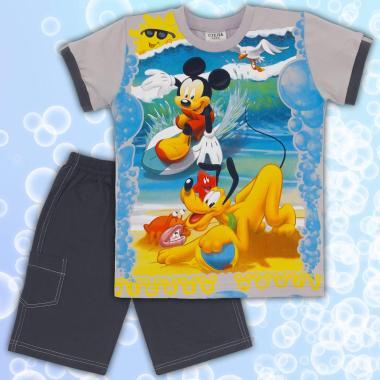 Комплект тениска и бермуди Мики Маус в сиво