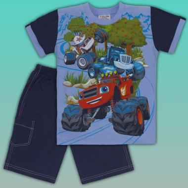 Комплект тениска и бермуди Пламъчко в синьо
