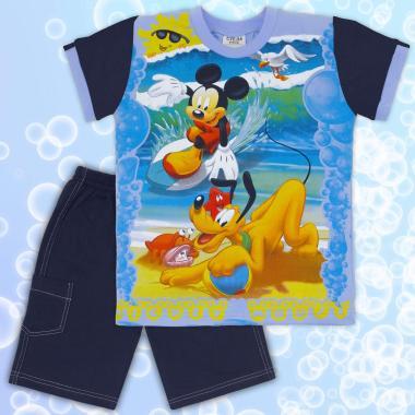 Комплект тениска и бермуди Мики Маус в синьо