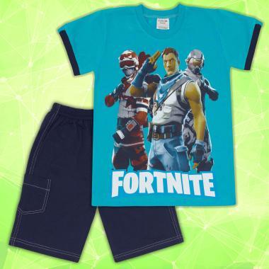 Комплект тениска и бермуди Fortnite в морско синьо