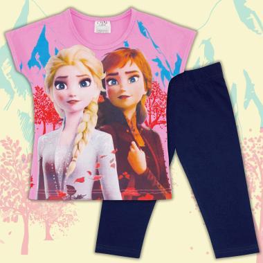 Комплект блузка и клин Замръзналото кралство в розово и циклама