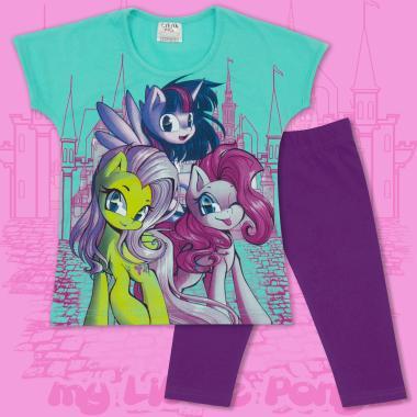 Комплект блузка и клин Малкото Пони в мента