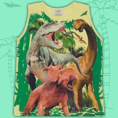 Тениска без ръкав динозаври в жълто
