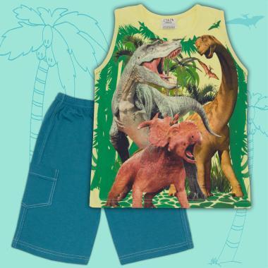 Комплект тениска без ръкав и бермуди Динозаври в жълто