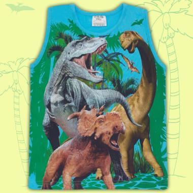 Тениска без ръкав динозаври в наситено синьо
