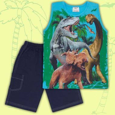 Комплект тениска без ръкав и бермуди Динозаври в наситено синьо
