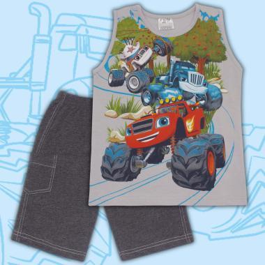 Комплект тениска без ръкав и бермуди Пламъчко в сиво