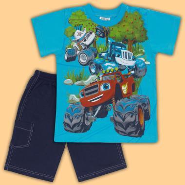 Комплект тениска и бермуди Пламъчко в наситено синьо
