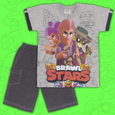 Комплект тениска и бермуди Brawl Stars в сиво
